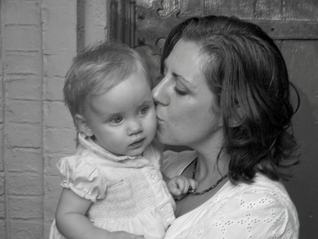 mom and maddy at church black and white